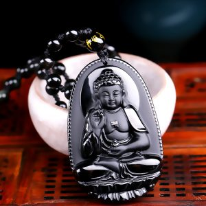 Black Obsidian Carved Buddha Lucky Amulet Pendant
