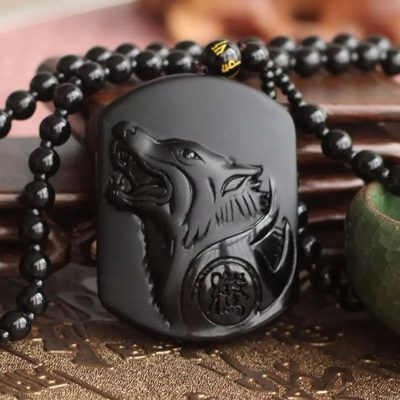 BLACK WOLF OBSIDIAN NECKLACE free