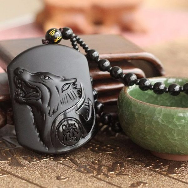 BLACK WOLF OBSIDIAN NECKLACE image