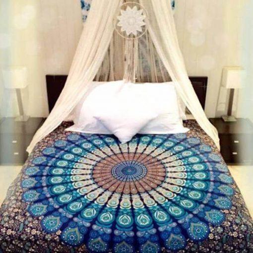 Blue Peacock Bedspread