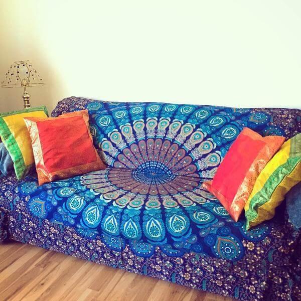 Boho Mandala Sofa Cover- Boho Mandala Couch Cover