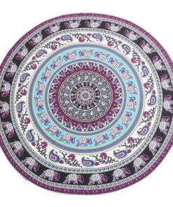 Purple Elephant Mandala Beach Blanket