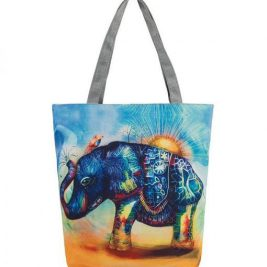 casual printed elephant tote bag