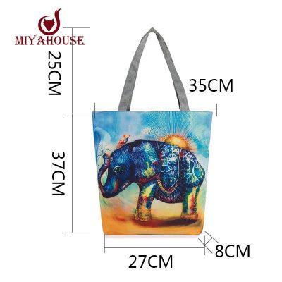 casual printed elephant tote bag