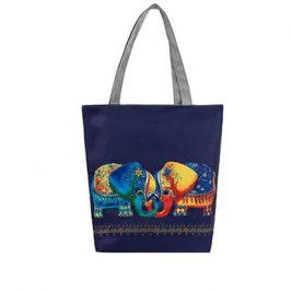 elephant printed casual tote bag