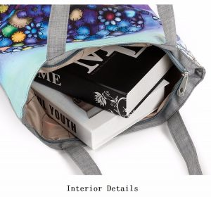 casual printed elephant tote bag interior