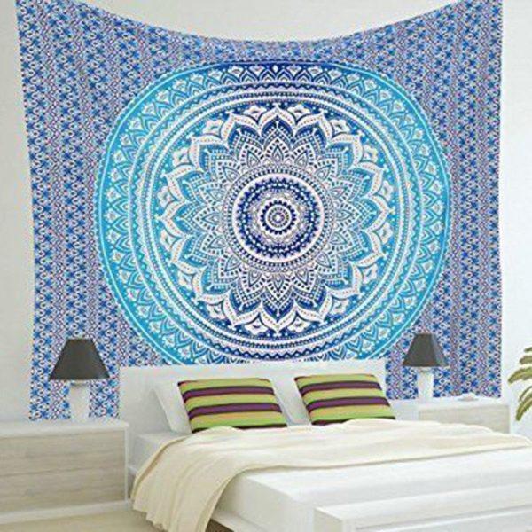 turquoise mandala tapestry