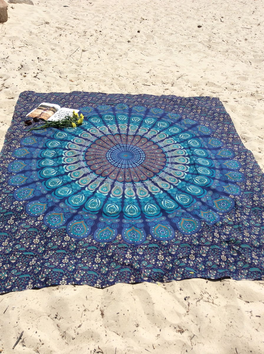 Indian Mandala Tapestry Hippie Wall Hanging Blue The
