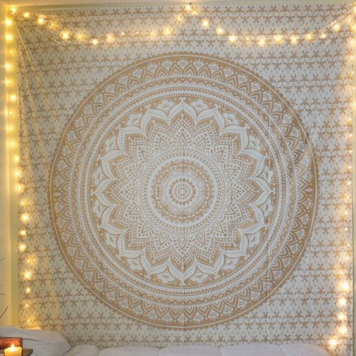 gold and white mandala tapestry