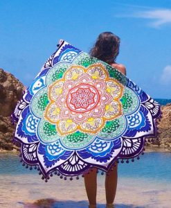 mandala lotus flower shape beach blanket