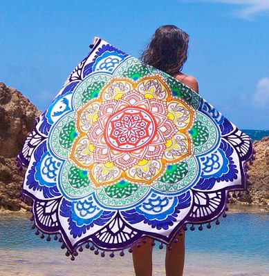 mandala lotus flower shape beach blanket purple color cover image