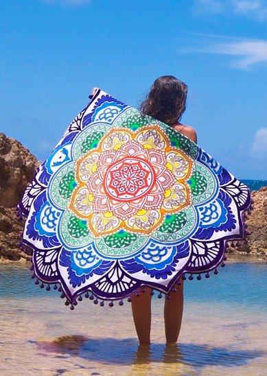 purple mandala lotus flower shape beach blanket