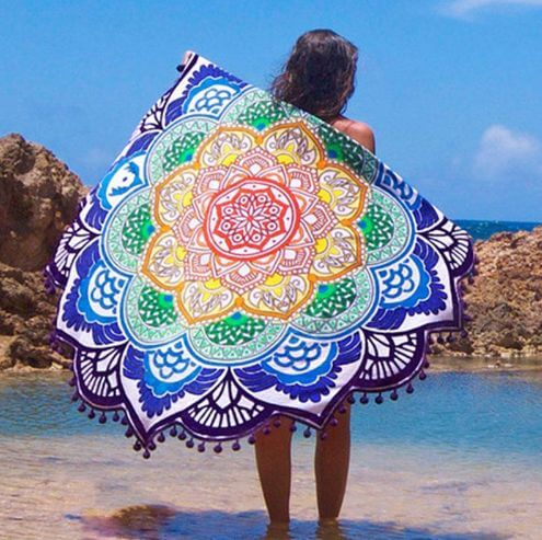 Mandala Lotus Flower Shape Beach Blanket - meditation blanket