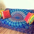 blue boho mandala sofa cover photo image