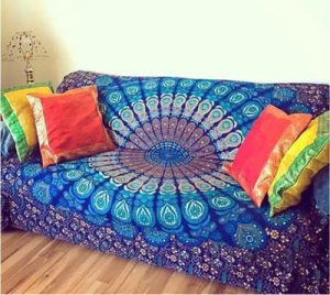 blue boho mandala sofa cover photo image