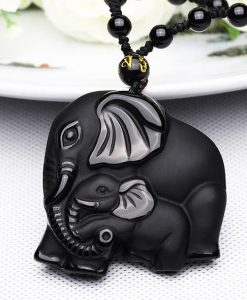 Natural Obsidian Hand Carved Mother Baby Elephant Amulet Pendant Necklace