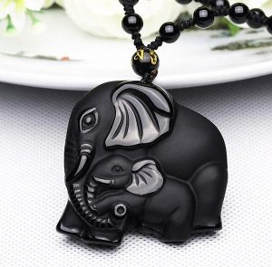 Natural Black Obsidian Carved Mother Elephant Necklace image