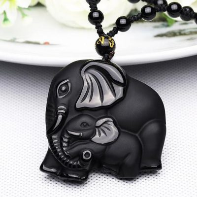 natural-obsidian-hand-carved-mother-baby-elephant-amulet-pendant-necklace