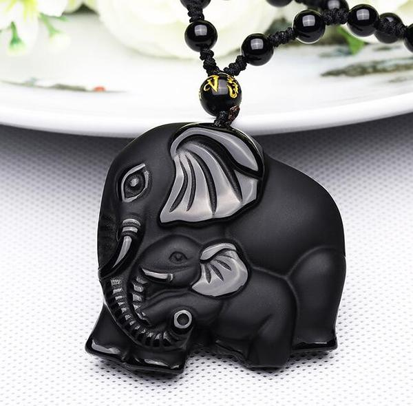 Obsidian Elephant Necklace
