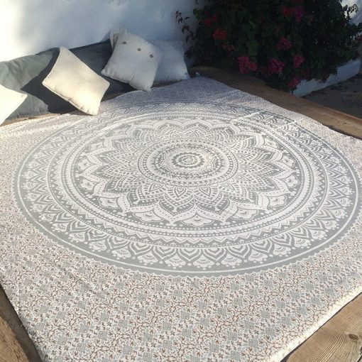 white and grey mandala tapestry