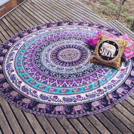 purple elephant mandala blanket photo