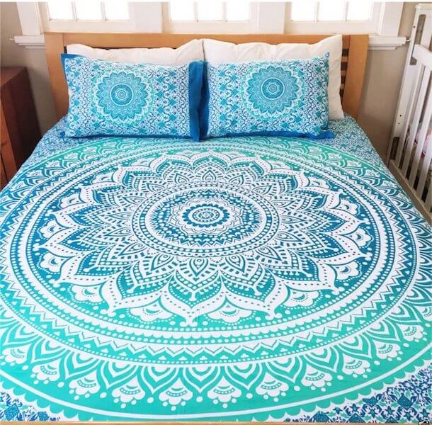 blue mandala bed cover