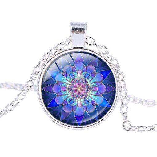 blue mandala pendant necklace