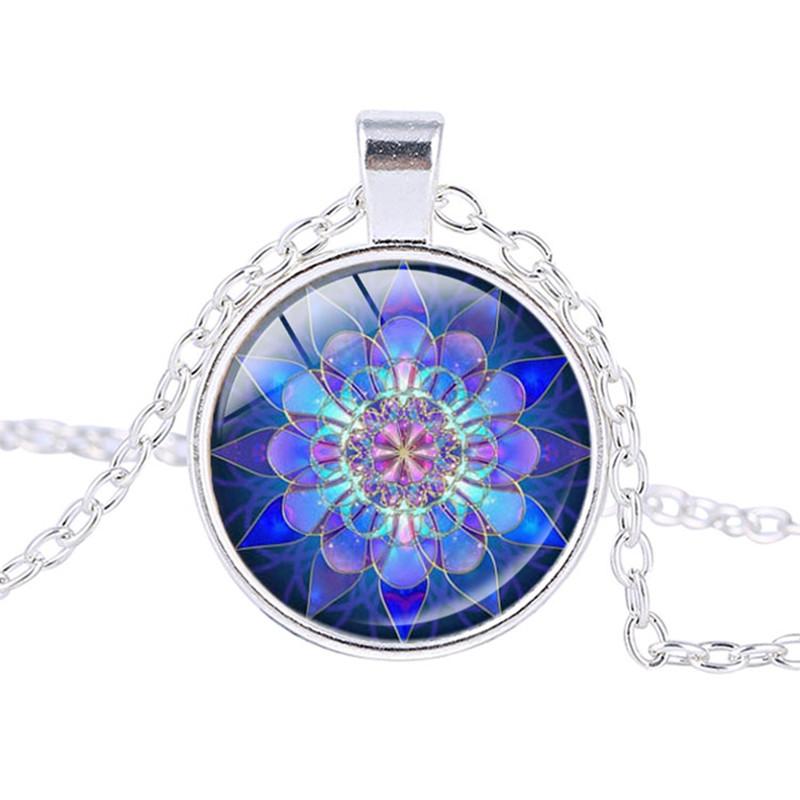 Yoga Symbols - Blue Mandala Pendant Necklace
