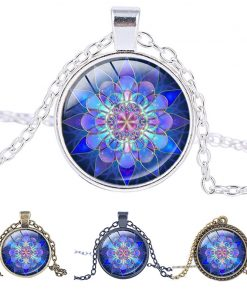 blue mandala pendant necklace