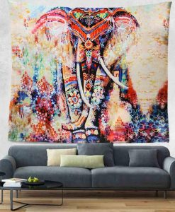colored elephant divine mandala tapestry image