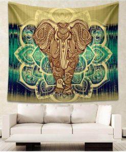 Green Elephant Tapestry