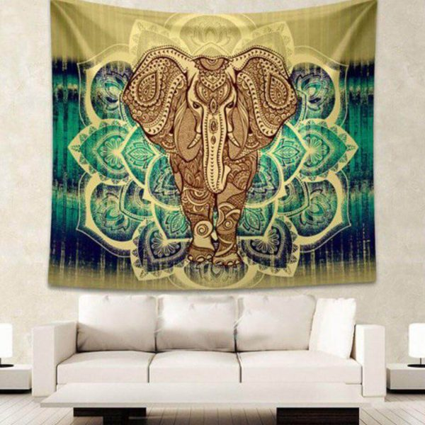 large green elephant mandala tapestry image