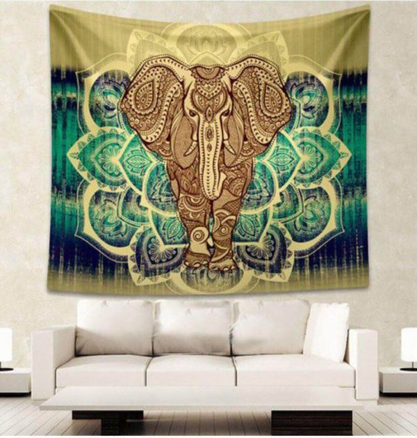 Green Elephant Tapestry