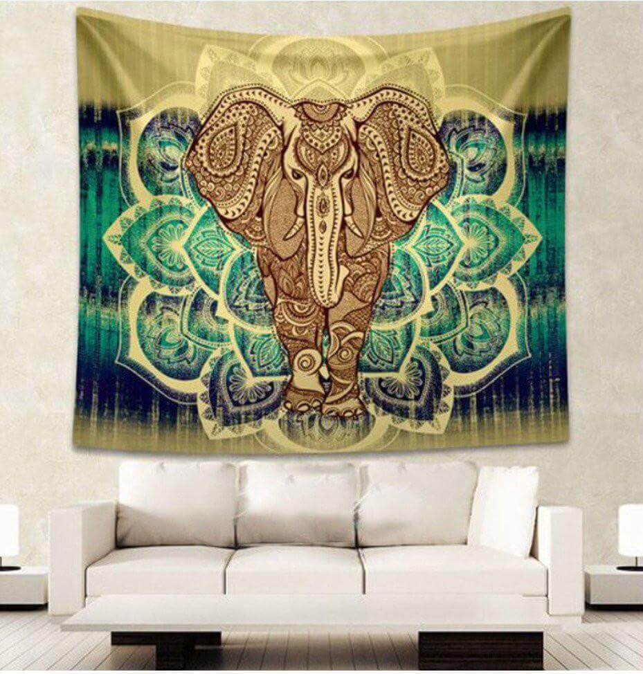 large green elephant mandala tapestry image