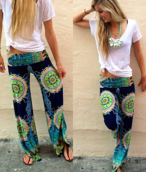 gypsy wide leg floral harem trousers pants image