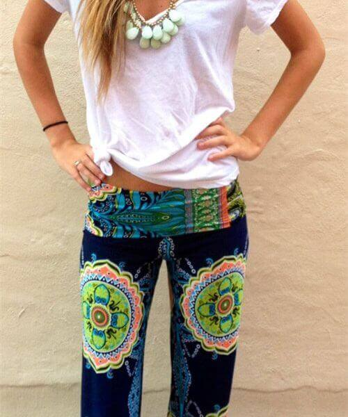 gypsy women floral harem trousers