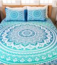 mandala queen bed cover deep blue