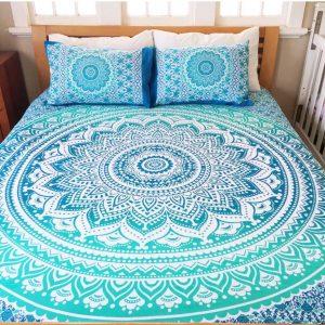 mandala queen bed cover deep blue