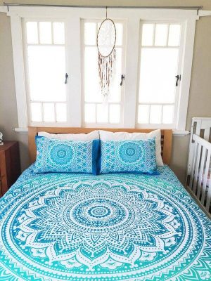 blue mandala queen bed cover image