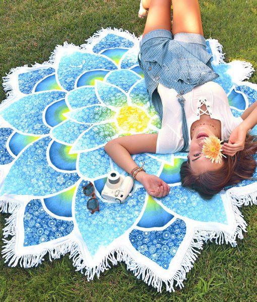 blue boho beach towel - the yoga mandala