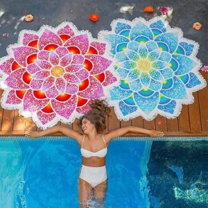mandala yoga bohemian lotus flower beach towel