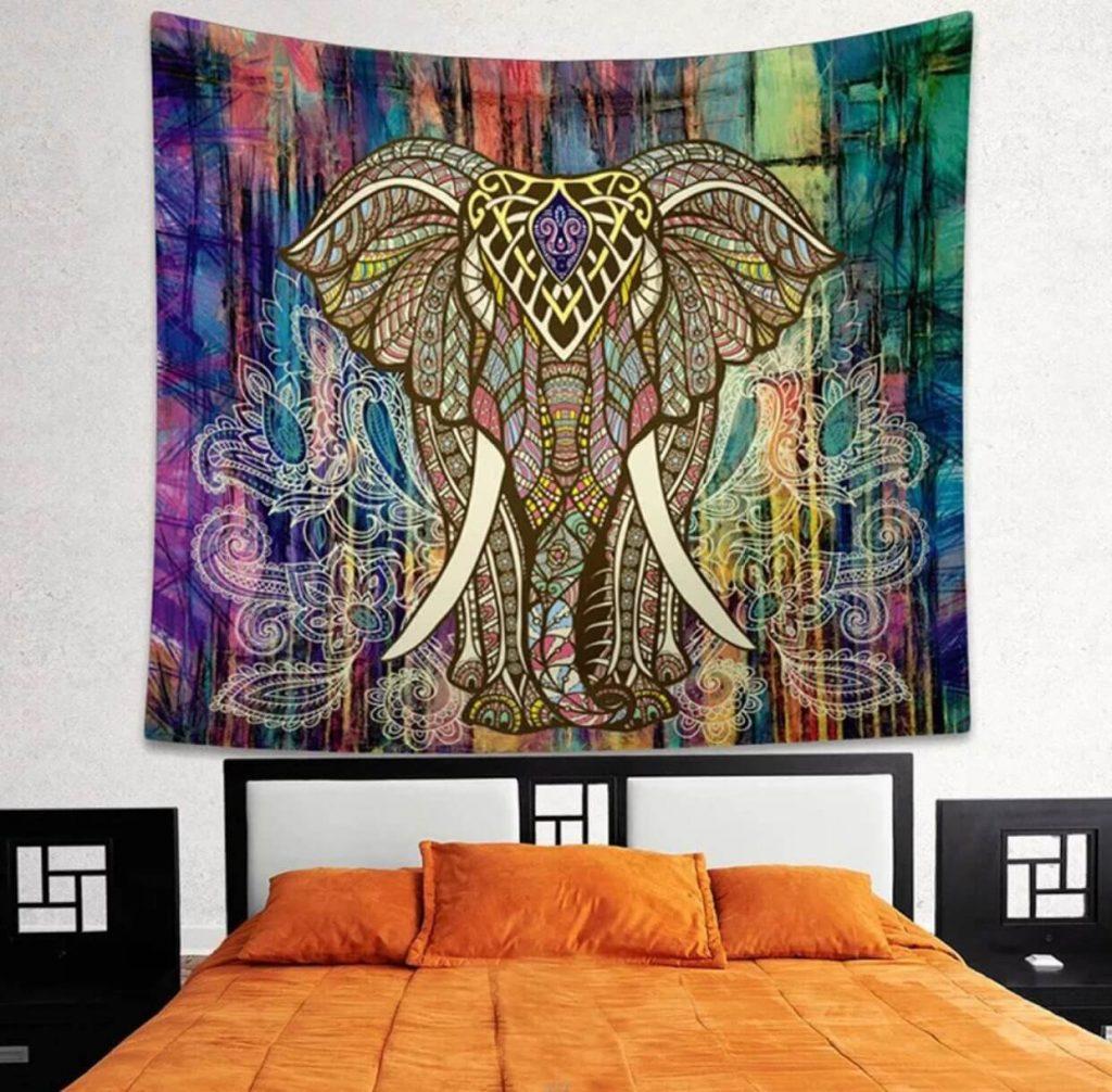 large rainbow elephant mandala tapestry image