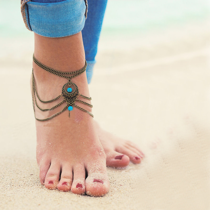 Boho Chic Gypsy Turquoise Bohemian Anklet