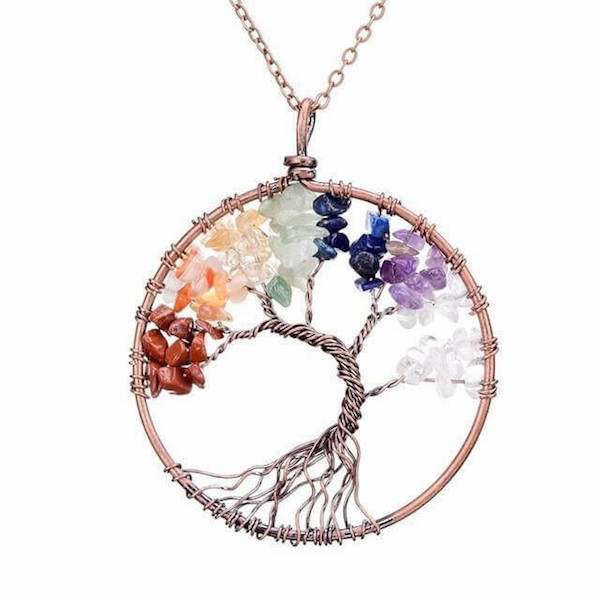 Handmade Chakra Tree Of Life Necklace With Stones