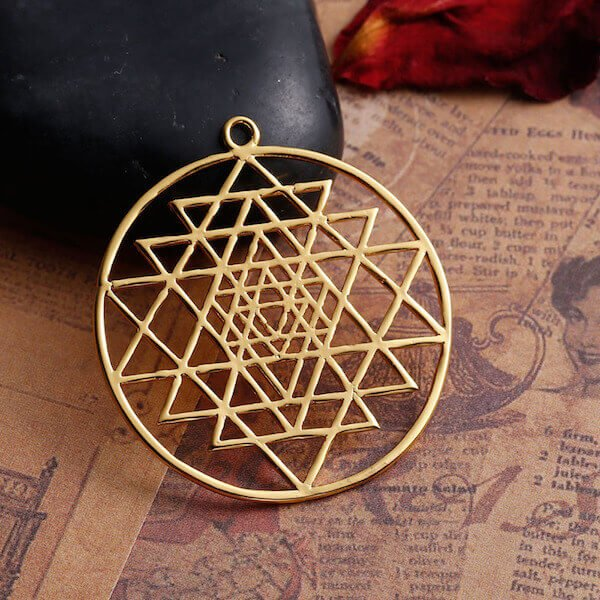 Sacred Sri Yantra Gold Pendant The Yoga Mandala Shop