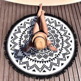 black and white mandala blanket