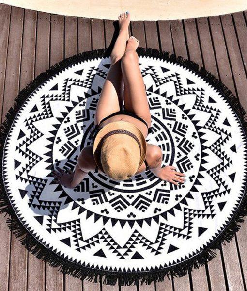 black-white-mandala-beach-blanket1