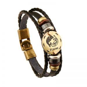 bronze zodiac leather bracelet