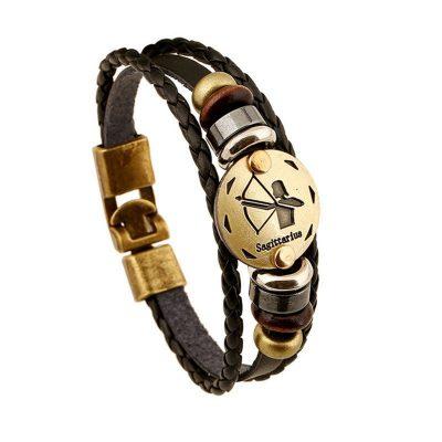bronze-zodiac-leather-bracelet-sagittarius
