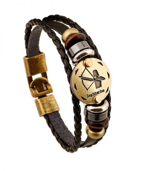 bronze-zodiac-leather-bracelet-sagittarius
